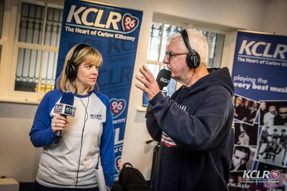 Eimear Ní Bhraonáin (producer) pictured in KCLR's Carlow studio on Dublin Street with presenter, John Masterson.