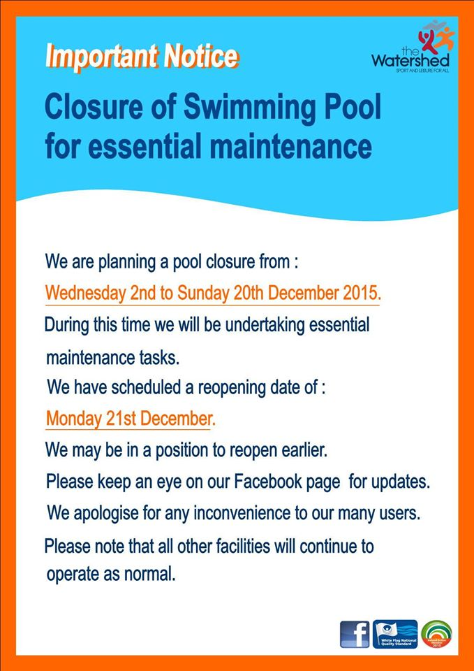 3 Week Closure For Essential Maintenance At Watershed Swimming Pool