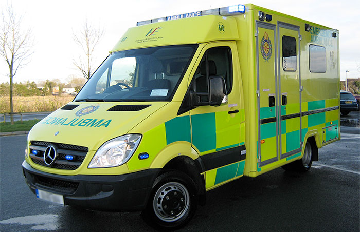 Irish emergency services ambulance pictured.