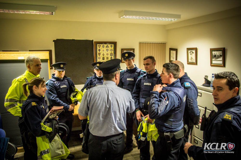 Gardai being briefed in Kilkenny before the most recent phase of Operation Storm last month
