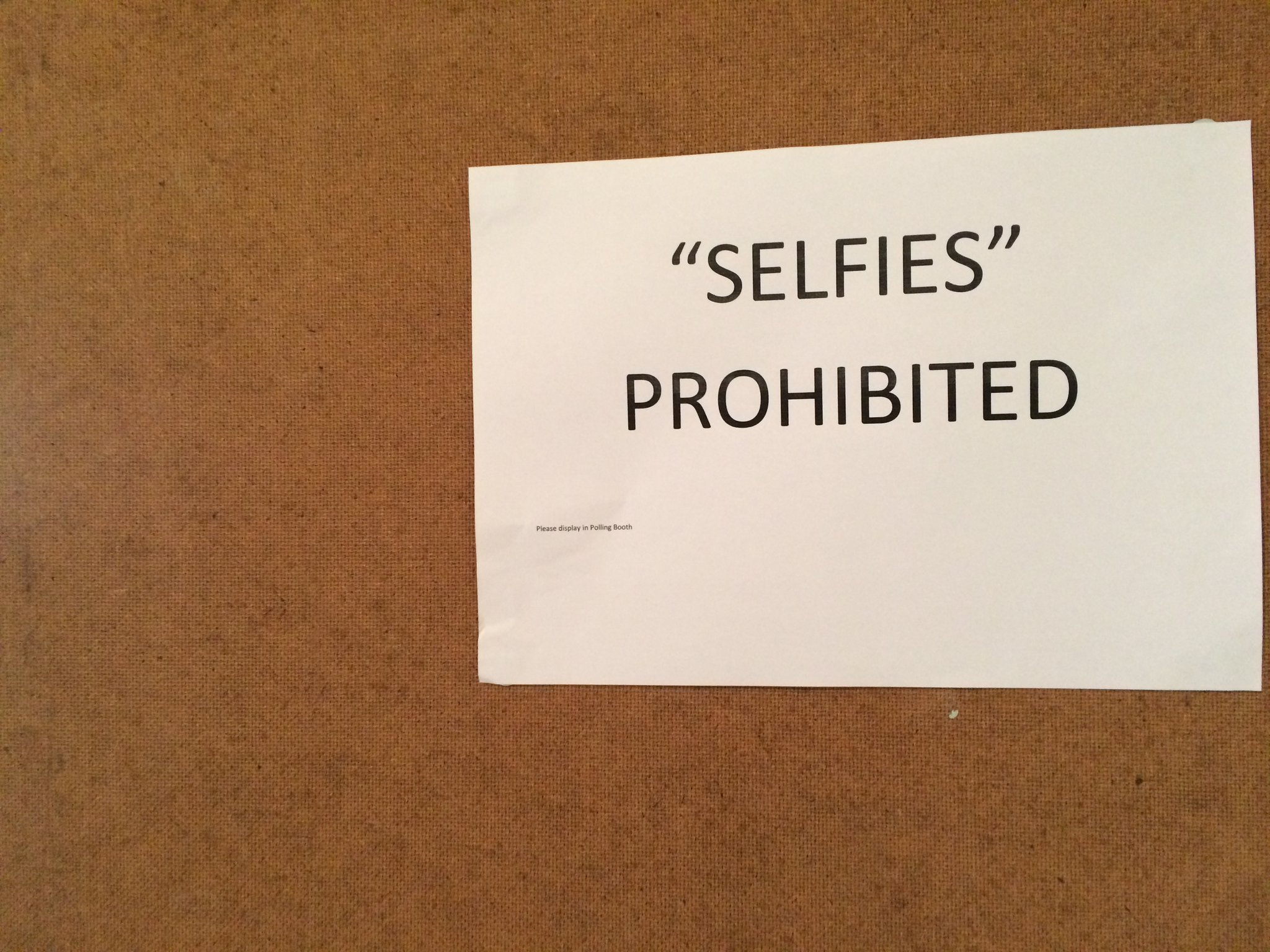 """Selfies"" prohibited at the polling station in Crosspatrick, Co. Kilkenny. Photo: MaryAnn Vaughan/KCLR"