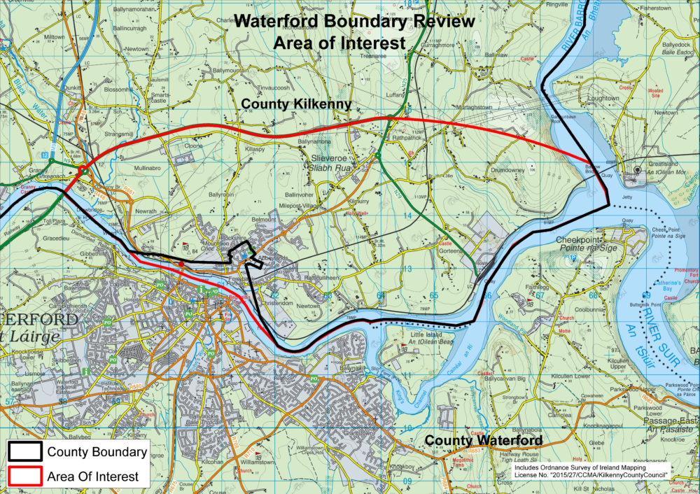 The original area of interest on the Waterford/Kilkenny boundary