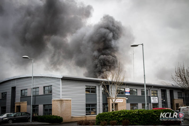 A substantial fire tears through one of the units at Purcellsinch Business Park on Tuesday 1 December 2015. Photo: Ken McGuire/KCLR