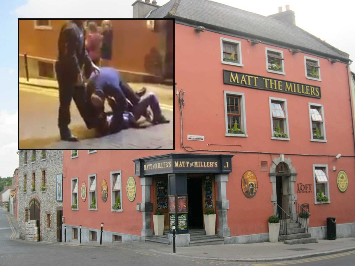 Matt The Millers, Kilkenny and inset, a still from the video depicting an incident at the venue on New Years Eve.