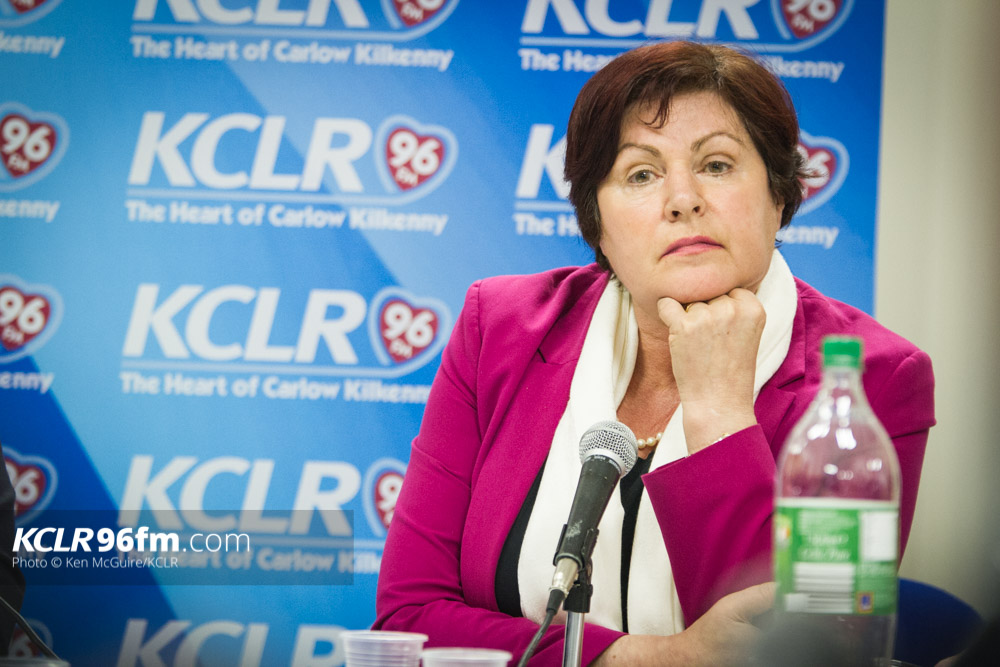 Minister Ann Phelan, moments before walking out of KCLR's live election debate on Monday 22 February 2016. Photo: Ken McGuire/KCLR