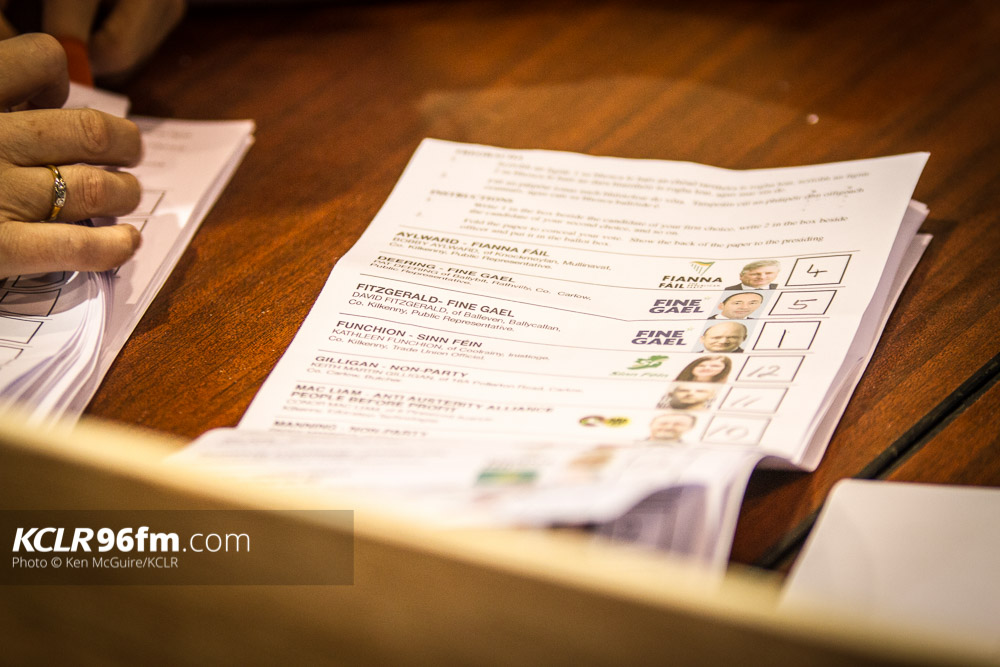 Ballot papers pictued during the Election 2016 count on Saturday 27 February 2016 at The Hub, Cillin Hill, Kilkenny. Photo: Ken McGuire/KCLR