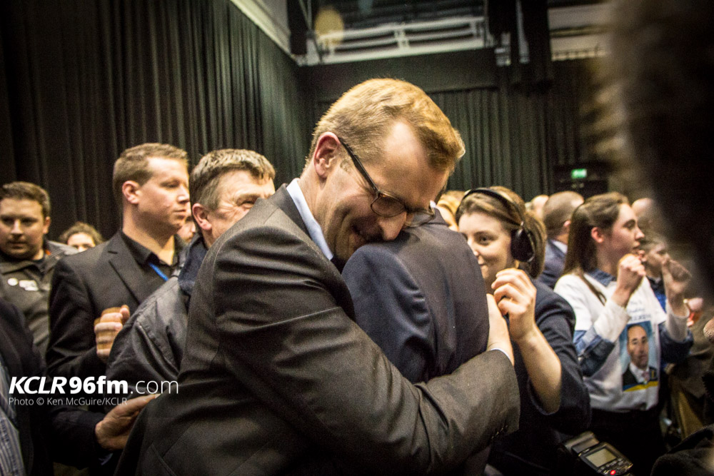 FG's John Paul Phelan embraces Pat Deering on his election after the final count for Election 2016. Photo: Ken McGuire/KCLR