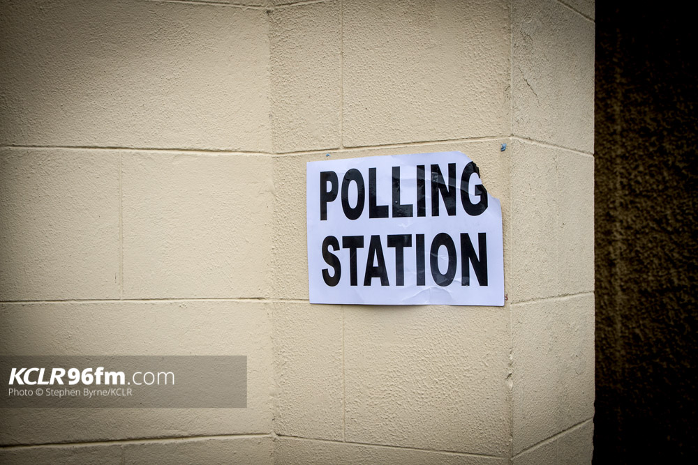 Polling Station At McGrath Hall, Bagenalstown, Co. Carlow. Photo: Stephen Byrne/KCLR