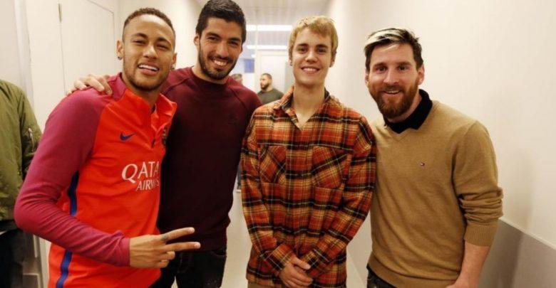 Neymar, Suarez, Bieber and Messi at Barcelona