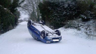 Car flipped near Freshford, Kilkenny. Photo: @kilkennynotices/Twitter