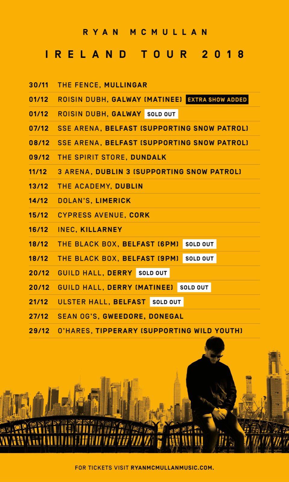 Ryan McMullan live gig dates