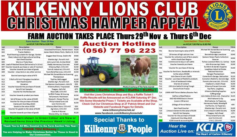Kilkenny Lions Club Christmas Hamper Appeal