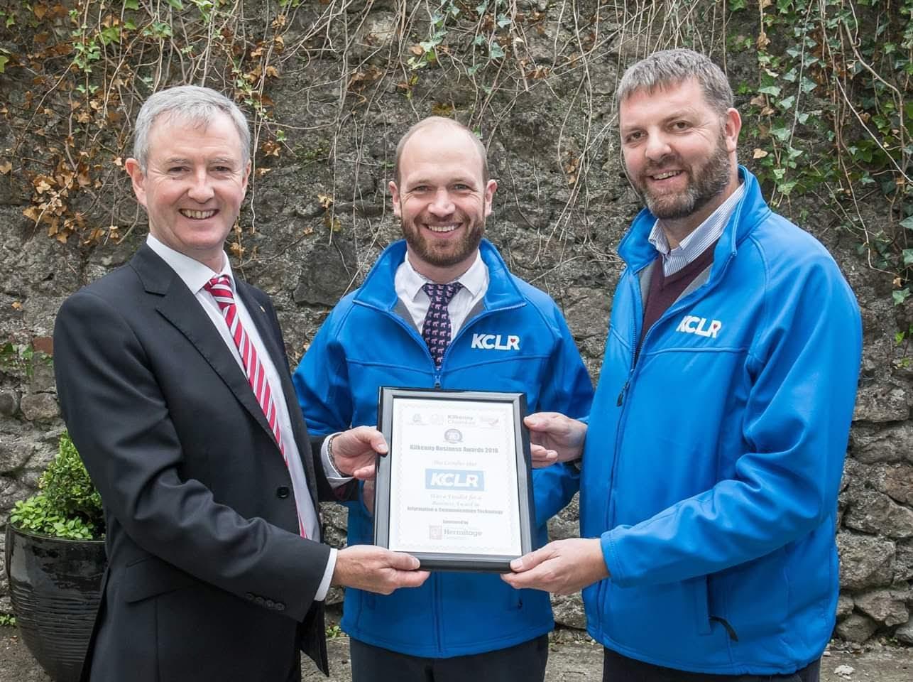 Kilkenny Chamber's John Hurley with KCLR's Pat Gardiner and John Purcell, CEO