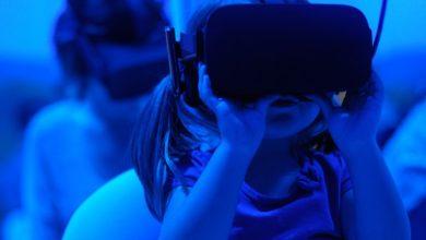 Girl wearing virtual reality goggles