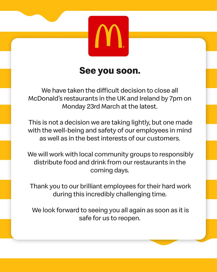 Coronavirus: McDonald's to close all United Kingdom  restaurants
