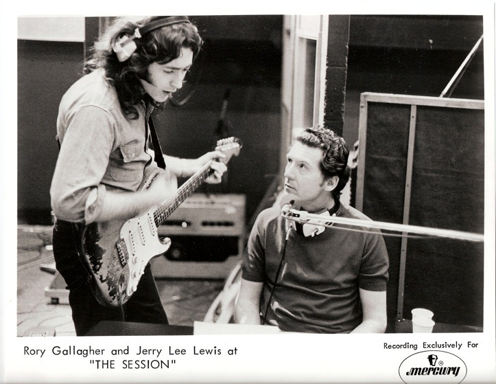 """Rory Gallagher & Jerry Lee Lewis rehearsing a Rolling Stones song """"Satisfaction"""" in the 1970's. Used for the """"Comhrá Covid"""" intrview series for Ceol Anocht"""