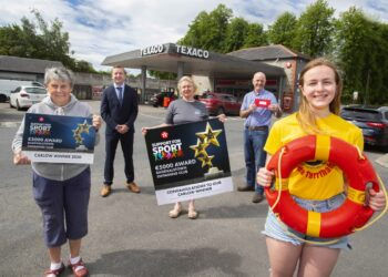ThepresentationtoBagenalstownSwimmingClubmembersMaryFoster,HeadofWaterSafety, CathrionaCarney,SpecialOlympicsGoldMedalWinnerandPoollifeguard,MaryannHickey,was madeataprivateceremonyheldatMcCullagh'sTexacoServiceStation,Bagenalstown.Pictured with them were Valero Area Sales Manager, Niall O'Rourke (second left) and TexacoDealer, JamesBolger(secondright).